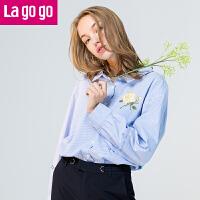 【3折价72】Lagogo/拉谷谷2017年秋季新款时尚纽扣绣花长袖衬衫GCCC427C08
