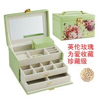 首饰盒欧式公主韩国简约带锁复古多层结婚礼品耳环珠宝饰品收纳盒