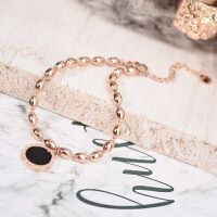 日镀18K玫瑰金钛钢手链女款简约流行黑色圆形首饰品欧美时尚 玫瑰金色(均码可调节)
