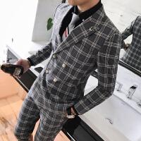 18秋冬装男士双排扣韩版修身西装三件套潮流青年格子休闲西服套装