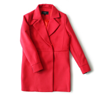 女装秋冬季新 韩国站纯色西装领暗扣长袖毛呢外套女
