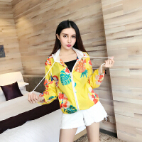 夏季新款韩版时尚印花长袖连帽短外套宽松大码休闲百搭防晒衫