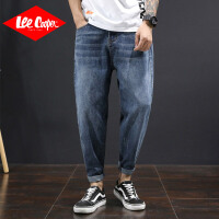 Lee Cooper新款牛仔裤男宽松大码胖子老爹哈伦裤猫须潮牌小脚牛仔裤男