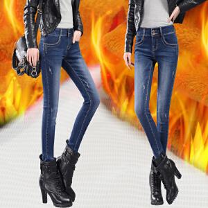 SOOSSN 2017新款冬季加绒牛仔裤女裤时尚加厚修身小脚裤显瘦铅笔裤子 6101