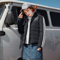 森马羽绒服女2018冬季新款连帽短款外套印花撞色少女学生上衣