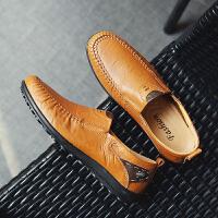 新款男士大码透气豆豆鞋洞洞鞋镂空休闲鞋手工男皮鞋套脚驾车鞋