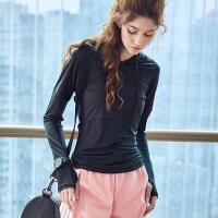 运动上衣女宽松秋季吸汗透气瑜伽服健身房显瘦训练跑步长袖速干衣