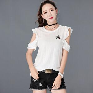 SOOSSN 2018秋季新款女装韩版拼接V领长袖T恤女大码女装t恤女士6059