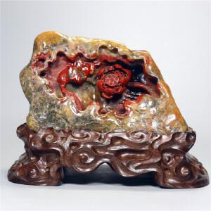 寿山牛蛋石  和和美美倒流香摆件