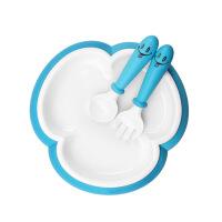 婴儿吃饭训练辅食 宝宝餐盘吸盘碗三叶草儿童餐具套装分格