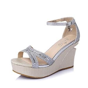【鞋靴超级品类日】BASTO/百思图夏季专柜同款亮片布坡跟女凉鞋TG507BL6