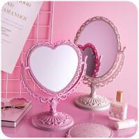 台面镜梳妆镜桌面欧式公主镜书桌宿舍爱心镜子少女心化妆镜台式
