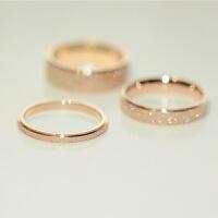 钛钢镀18K玫瑰金磨砂情侣彩金戒指食指戒男女尾戒长保色