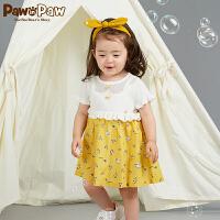 【3件3折 到手价:167】Pawinpaw卡通小熊童装新款秋女宝宝假两件毛衣百褶连衣裙印花
