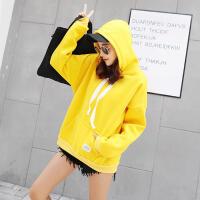 茉蒂菲莉 卫衣 女士秋冬季新款新款韩版休闲外套女式加绒加厚套头连帽卫衣时尚休闲外套