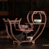 紫砂壶茶叶茶杯展示架子小博古架实木功夫茶具配件收纳架摆件底座