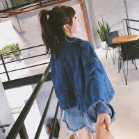 牛仔外套女短款流行韩版港风宽松春秋季牛仔衣潮春装2019新款女 S 80-108斤可穿