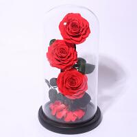 永生花礼盒玻璃罩蓝色妖姬玫瑰花束七夕情人节礼物送女友 巨型三朵玫瑰花 - 红色