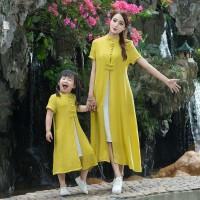 中国风女装亲子装母女装棉麻连衣裙两件套裙子套装盘扣民族风裙子