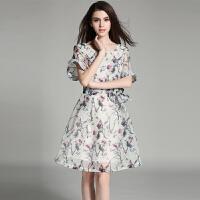 蕾丝连衣裙夏季新款气质长裙韩版显瘦欧根纱名媛收腰裙子