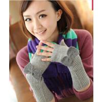 蝴蝶保暖手臂套毛线袖套 半指加厚假袖子手套女士秋冬季可爱
