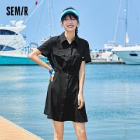 森马女装连衣裙女短袖衬衫领小黑裙2021夏季新款收腰显瘦裙子复古