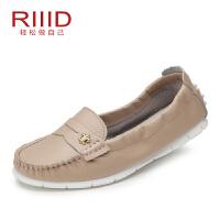 RIIID夏季真皮平底单鞋 休闲浅口豆豆鞋 妈妈鞋