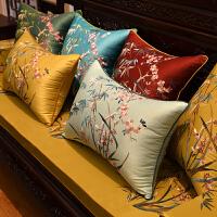 御绣阁新中式沙发刺绣花抱枕红木沙发中国风靠垫欧式床头大靠枕套