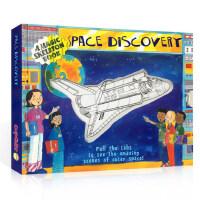 英文原版儿童绘本 太空探索发现 Space Discovery 儿童英语早教益智科普魔法抽拉变色认知百科 3-8岁亲子