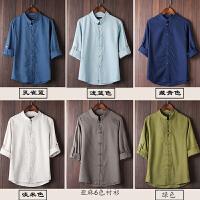 中国风唐装男士亚麻短袖夏季棉麻衬衫青年盘扣中式汉服大码七分袖