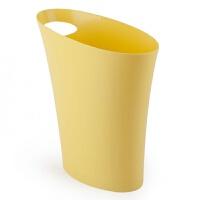 创意纸篓车载桌面垃圾桶塑料卫生间办公室厨房欧式简约家用 黄色 窄长型设计7.5L