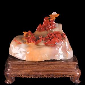 收藏精品5.8公斤《海市蜃楼摆件》天然三彩玉取巧全手工精雕摆件
