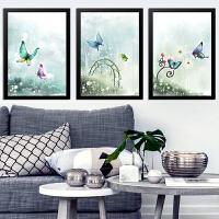 装饰画客厅壁画挂画卧室蝴蝶墙画简约有框画3联