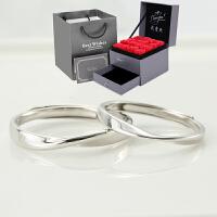 莫比乌斯环对戒情侣戒指一对银日韩简约男女素圈刻字原创设计