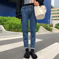时尚韩版女装秋冬季宽松百搭小脚复古牛仔裤哈伦裤修身直筒长裤女