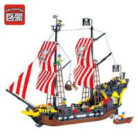 拼装玩具男孩 启蒙海盗系列积木加勒比黑珍珠号海盗船模型儿童