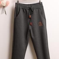 冬季刺绣羊羔绒加绒加厚休闲裤女士棉裤铅笔裤宽松运动裤小脚裤女