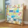 儿童书架实木简易幼儿园卡通小学生省空间多功能落地绘本宝宝书架