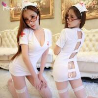 霏慕 纯情天使白色护士服露背露PP性感套装睡衣 女式激情睡裙