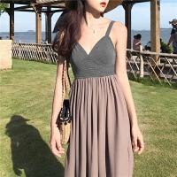 巴厘岛沙滩裙女夏2018新款吊带连衣裙显瘦海边度假裙泰国性感长裙 灰色