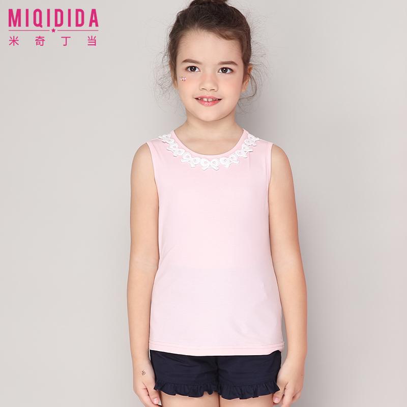 米奇丁当女童无袖T恤2018夏季新款儿童中大童淑女蕾丝上衣体恤衫