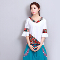 中国风夏装新款 短袖衬衫民族风上衣V领拼接 复古喇叭袖T恤女