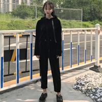秋冬女装韩版ulzzang运动休闲套装丝绒连帽卫衣外套+九分休闲裤女