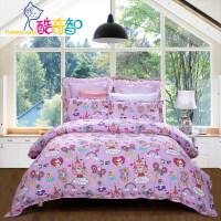 【暑期嗨购 1件5折】富安娜出品 酷奇智童话卡通印花四件套纯棉双层纱床单被套