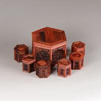 红木雕工艺品摆件紫砂茶壶底座红酸枝六方桌子明清微型家具模型 六角桌7件套