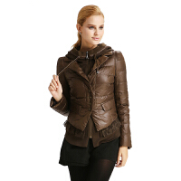 雅鹿羽绒服女短款 薄款修身显瘦针织连帽假两件套冬装外套YN20110
