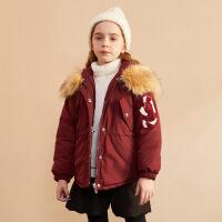 【2件3折:166】巴拉巴拉旗下巴帝巴帝2019年冬时尚休闲儿童棉衣棉服甜美女童派克服