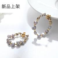 淡水珍珠耳环精致日韩风耳饰手工创意制作后挂式气质简约女送女友情人节礼物