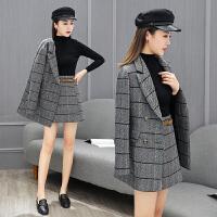 格子西装套装裙女2018韩版时尚气质名媛小香风女士西服短裙两件套