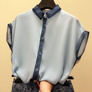 哆哆何伊2018新款韩版拼色短袖雪纺衫宽松气质衬衫小清新上衣洋气小衫女夏